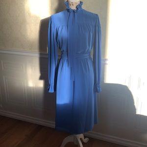 Vintage Ruffled Collar Long Sleeve Dress